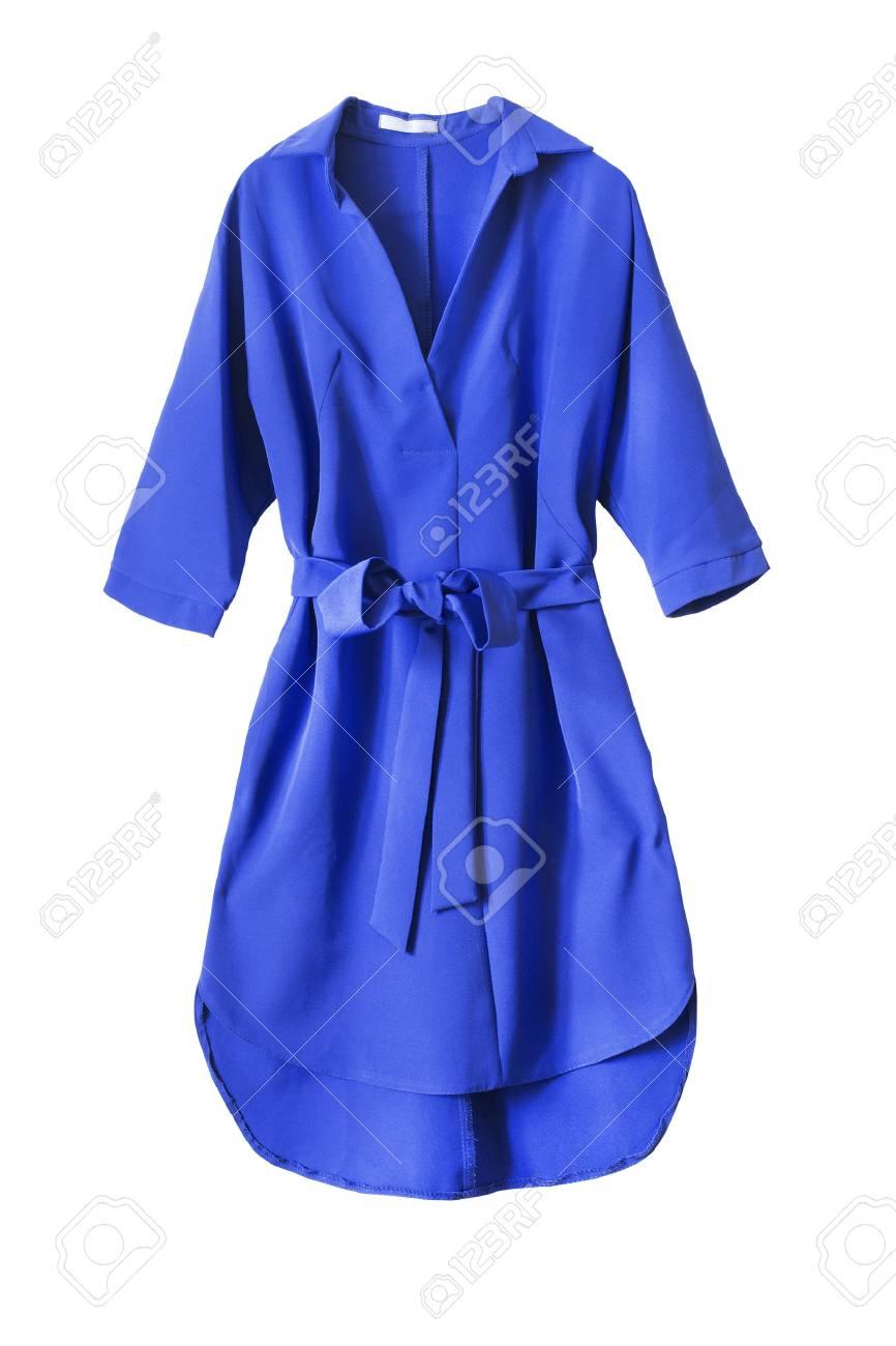 blaues kleid mit gebundenen bogen gürtel isoliert über weiß