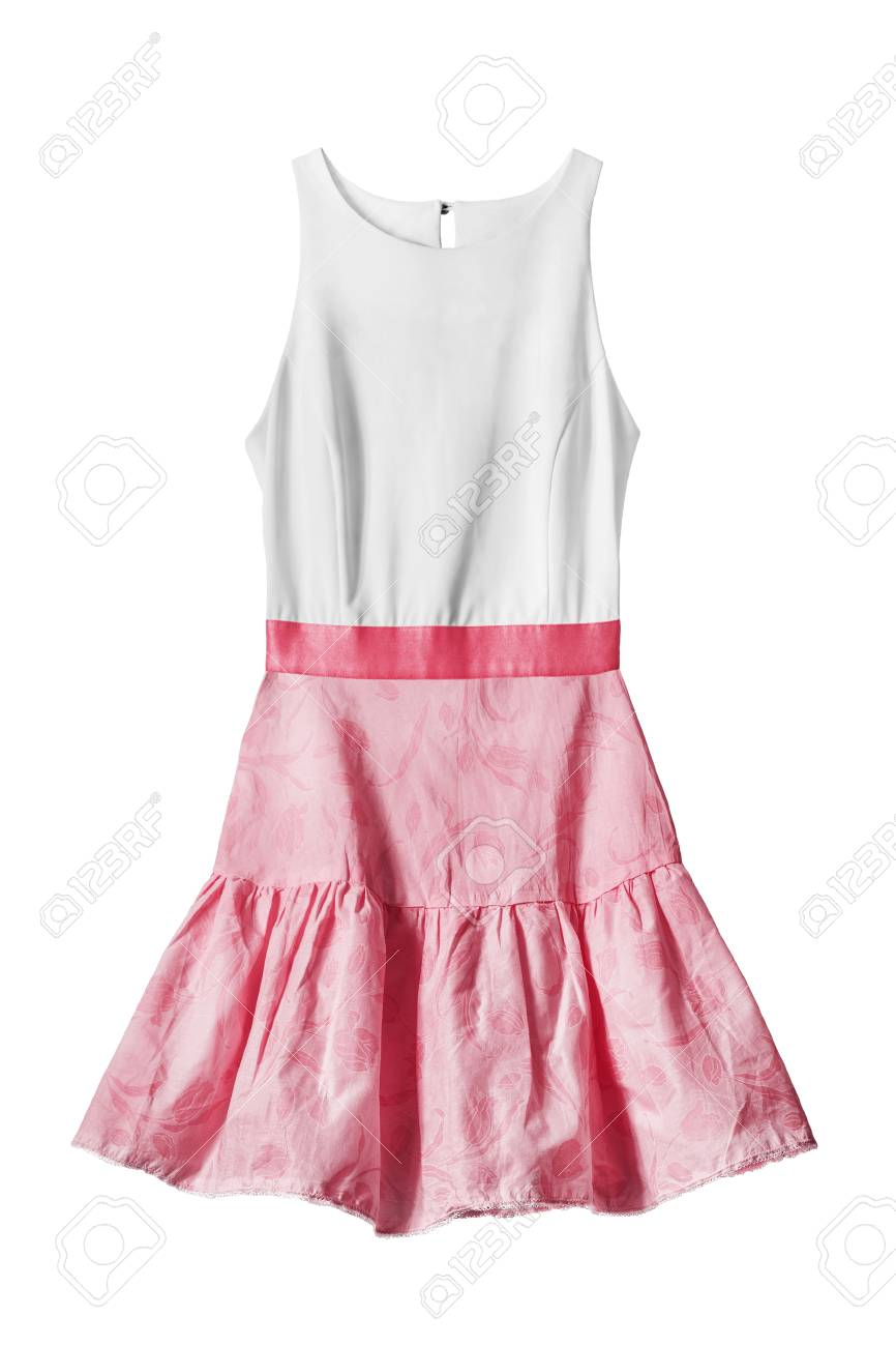 ffdb38232a4 Sundress with white top and pink skirt isolated over white Stock Photo -  75313390