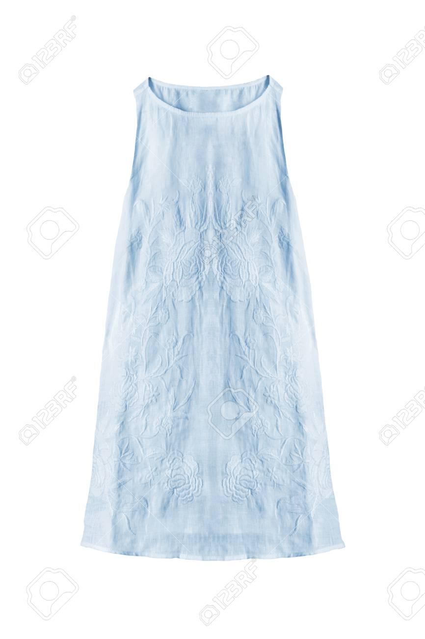 e667be095bb Pastel blue sleeveless linen sundress isolated over white Stock Photo -  79300566