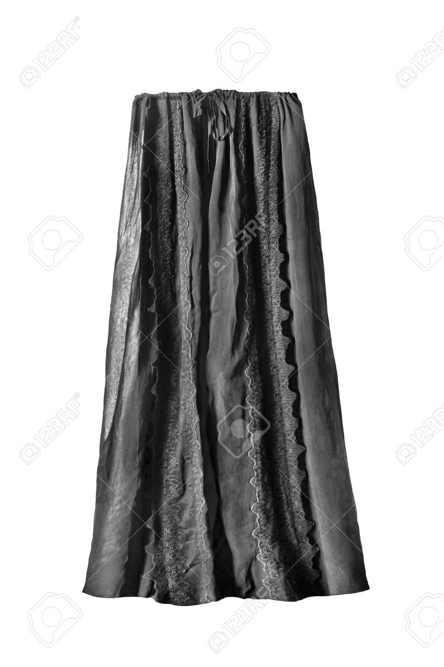 b35c8ac583 Elegant black chiffon long skirt on white background Stock Photo - 107083305