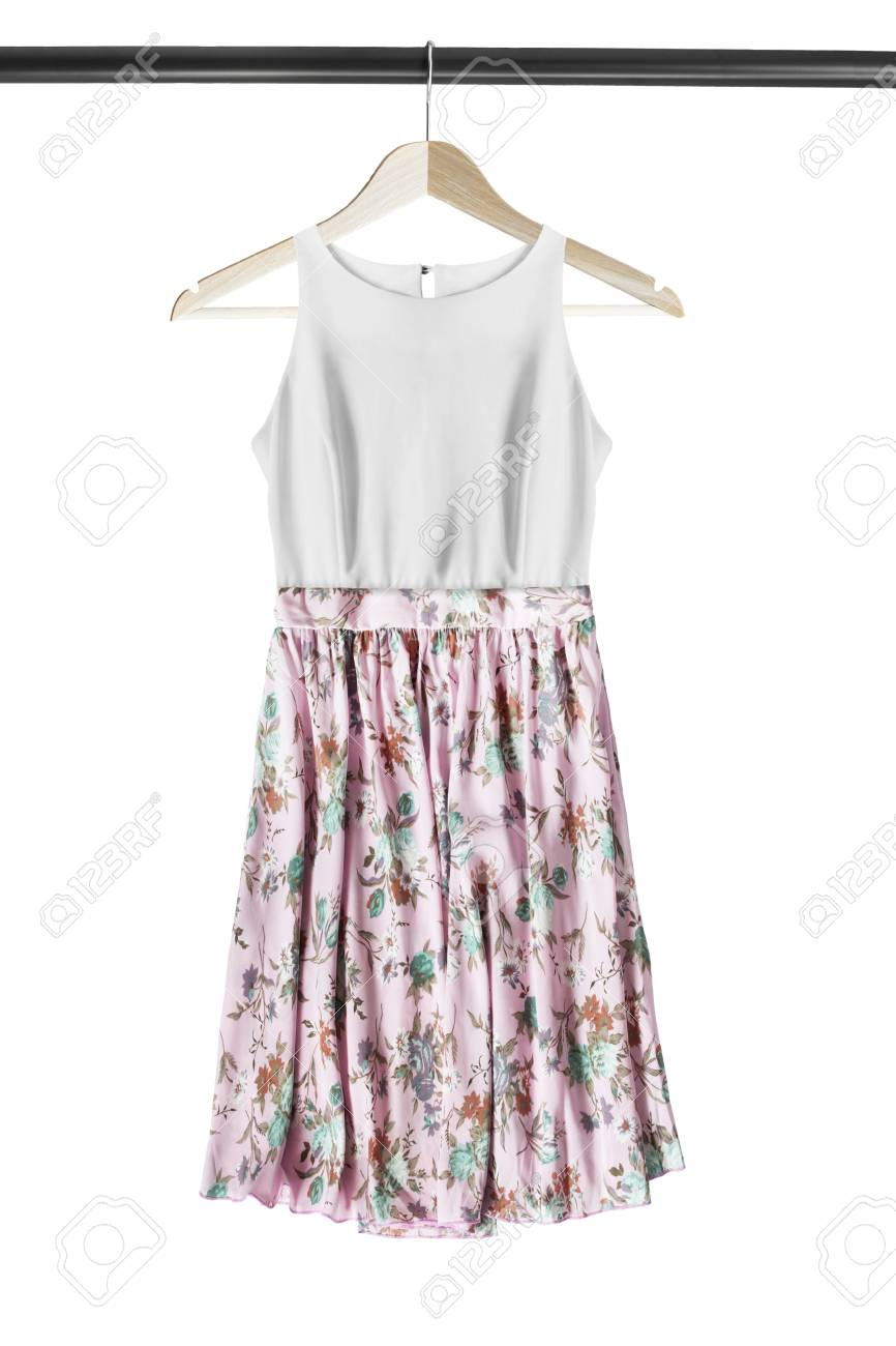 Pink And White Silk Sundress On Wooden Clothes Rack Isolated