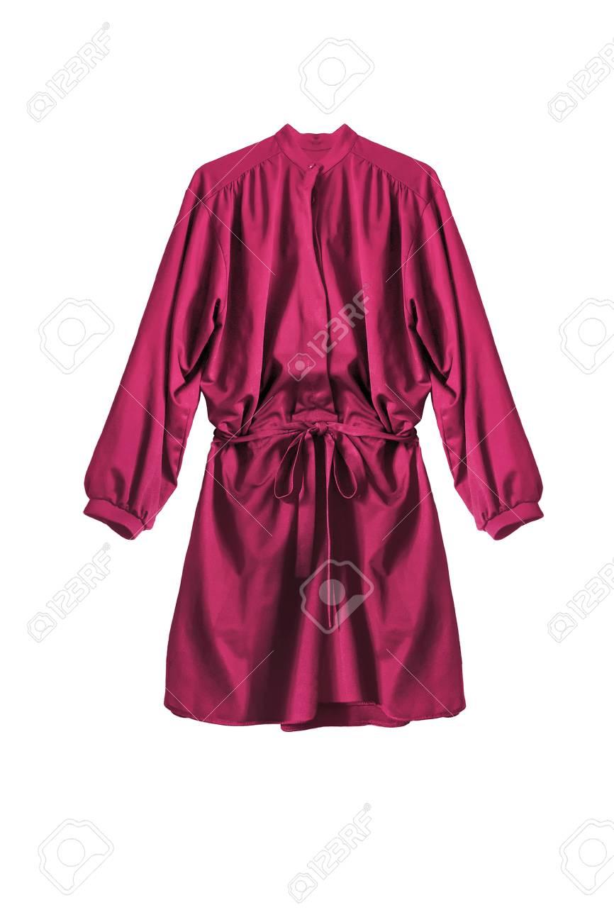 Pink silk mini shirt dress isolated over white - 122386362