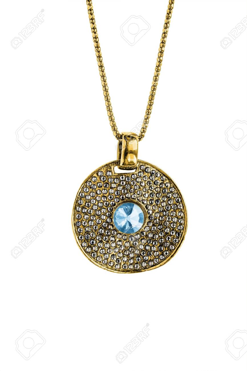 Large Gold Medallion With Crystals And Single Topaz Hanging On Stock Photo Picture And Royalty Free Image Image 128812320