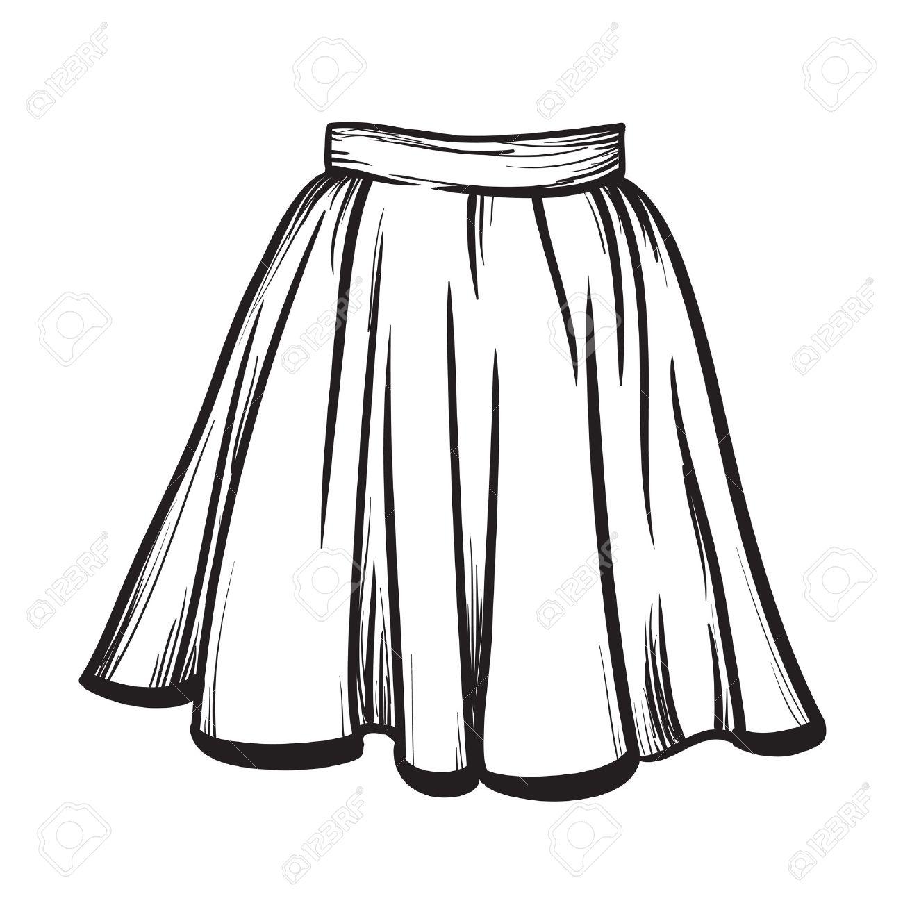 Stylish skirt model hand drawn vector illustration black lines - 53033404