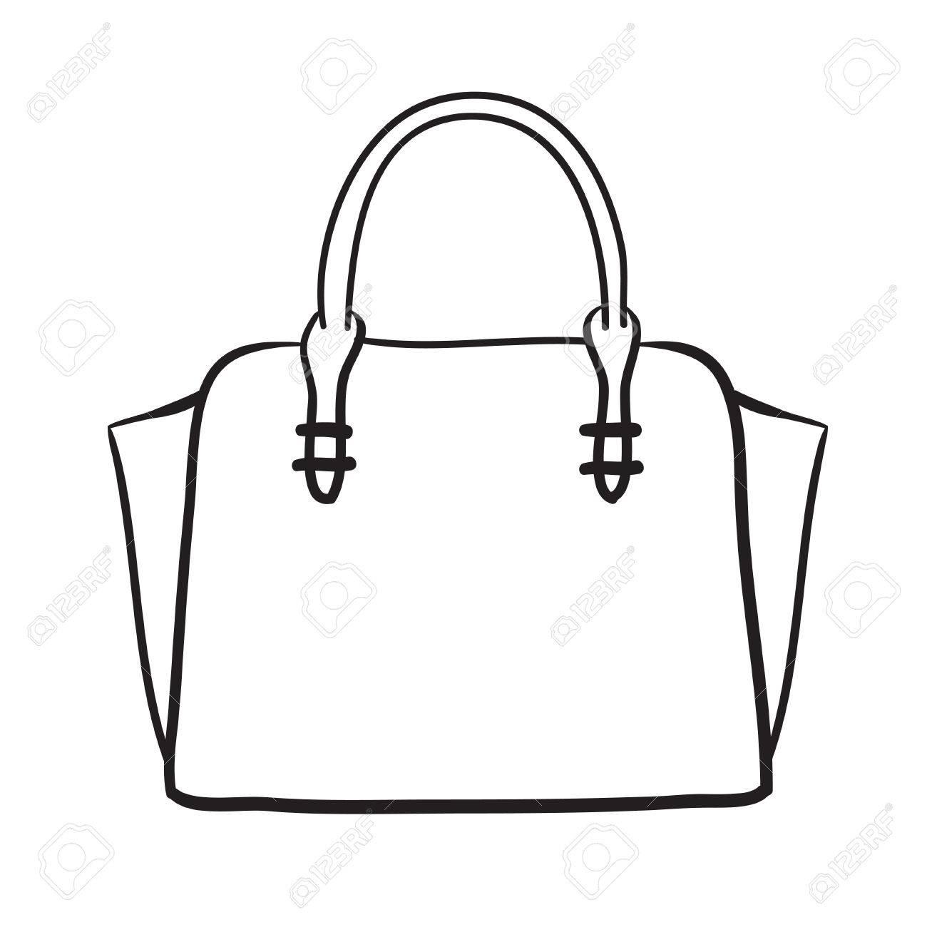Femme sac tiré par la main, femme élégante vecteur sac fashion illustration lignes noires