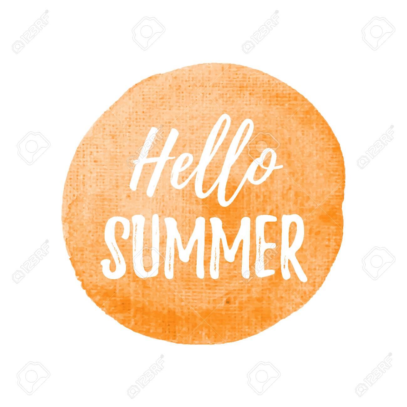Hello Summer Card, Poster, Logo, Written On Watercolor Orange Background  Illustration Stock Vector