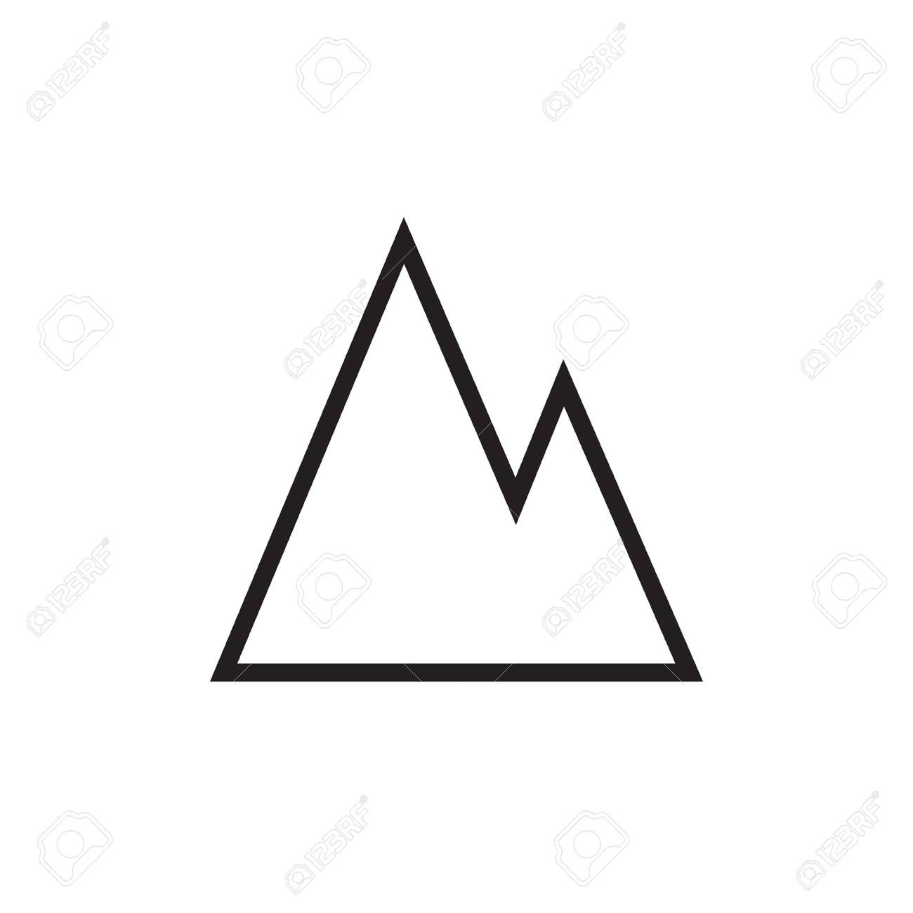 Mountains vector line illustration, icon, symbol, poster  Mountains