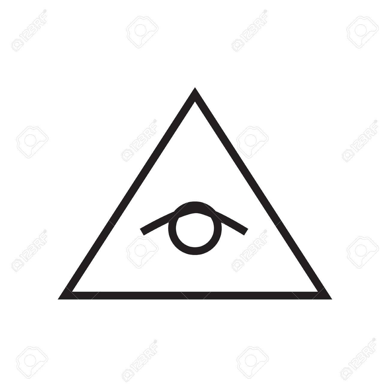 All Seeing Eye Pyramid Vector Line Illustration Icon Symbol Poster Freemason And