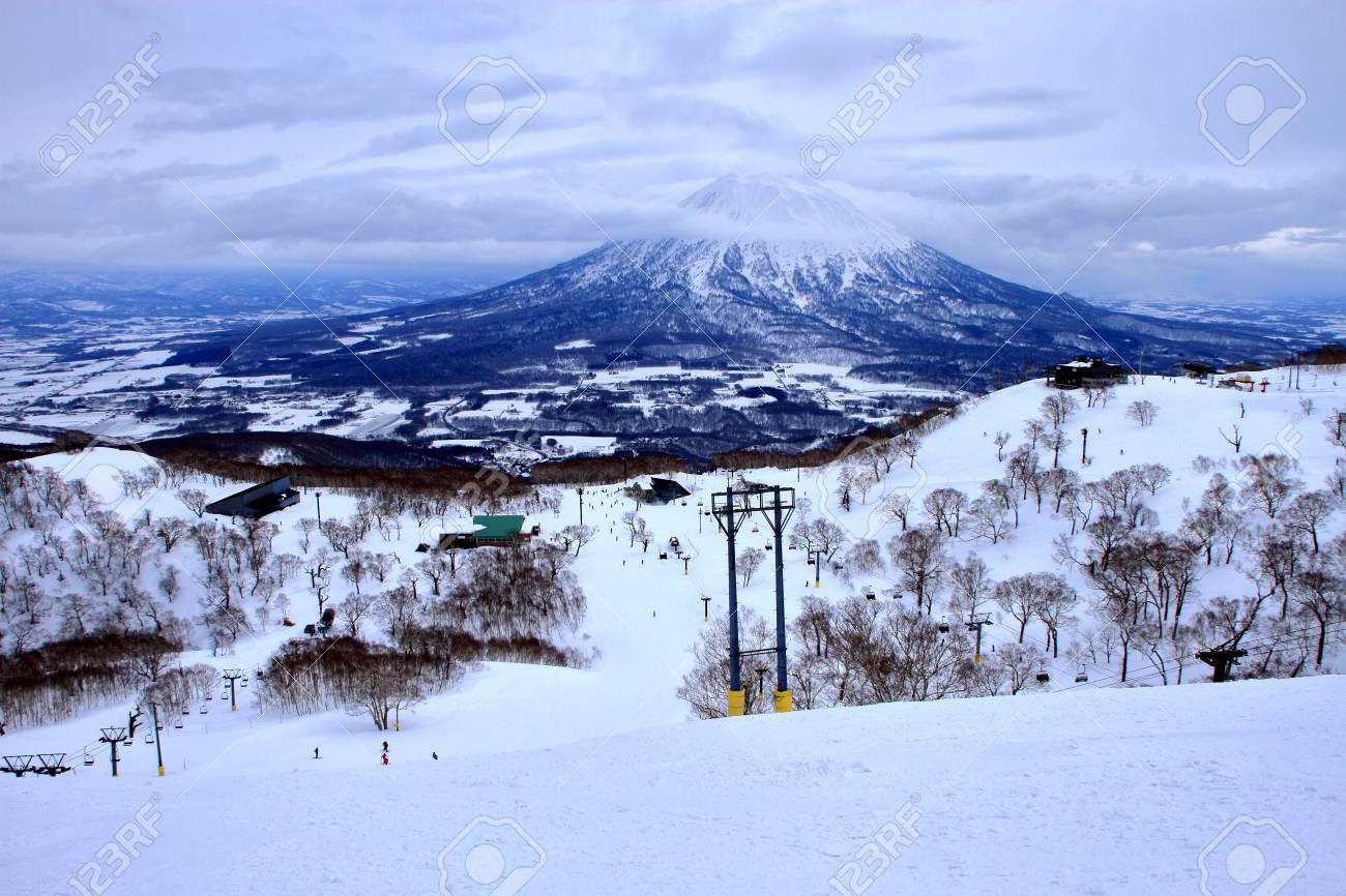 scenery of people enjoying skiing in in in hokkaido, niseko hirafu