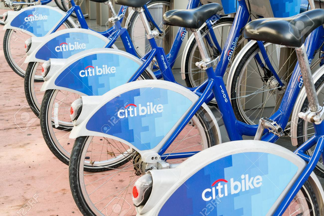 Citi Bike Miami >> Bicycles Parked In A Row At City Bike Station In South Beach