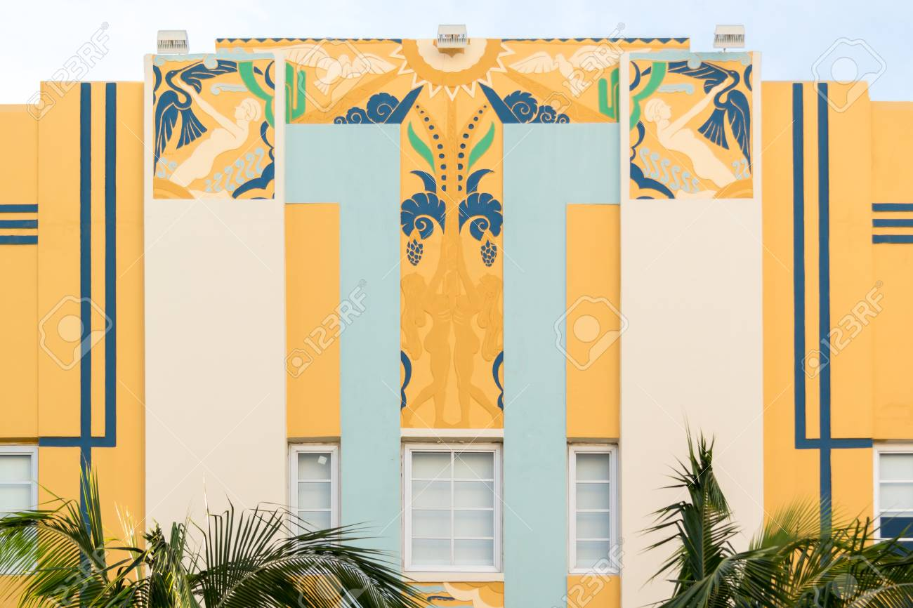 top facade of art deco building on ocean drive in south beach