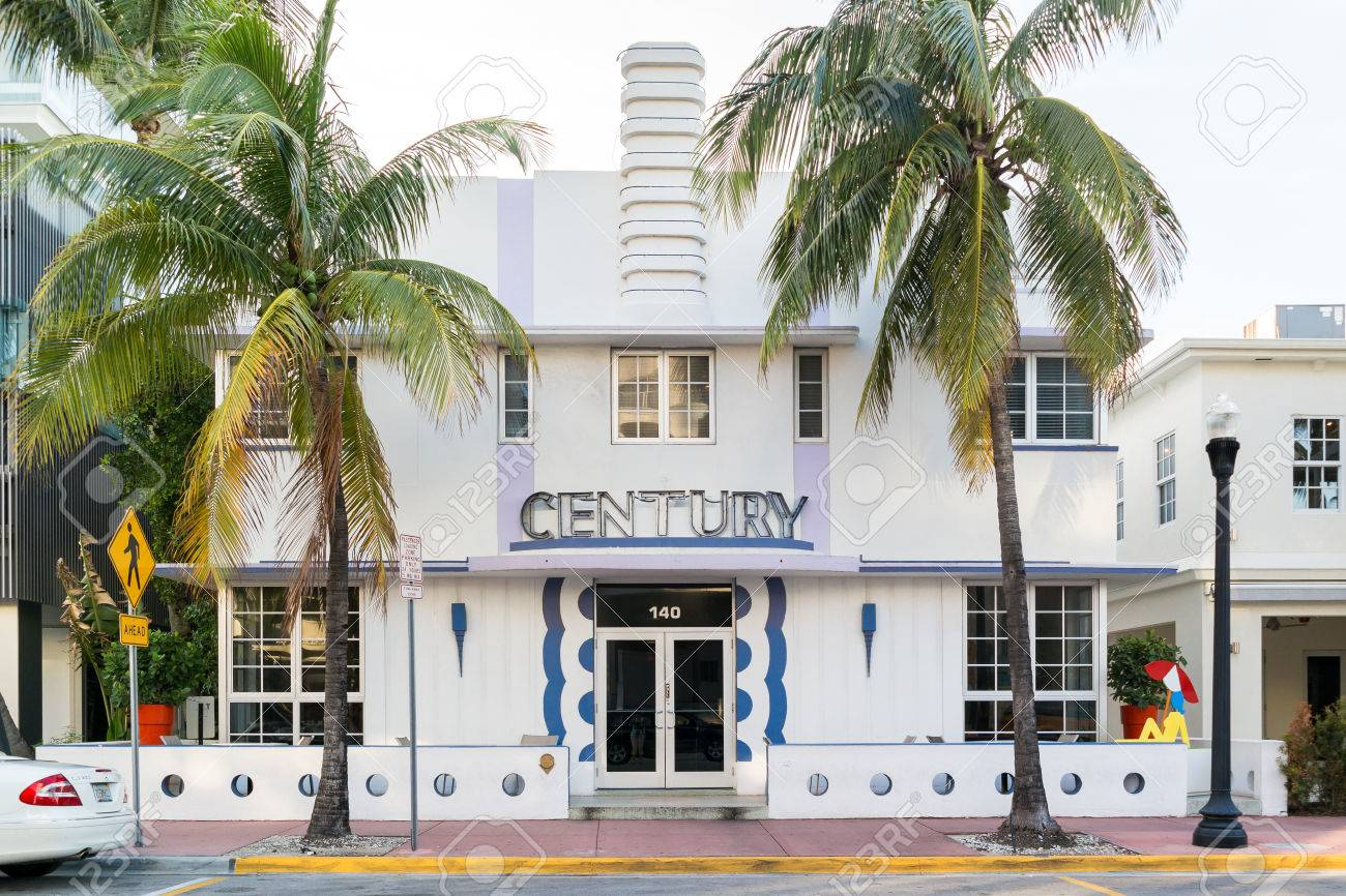 front facade of art deco building on ocean drive in south beach