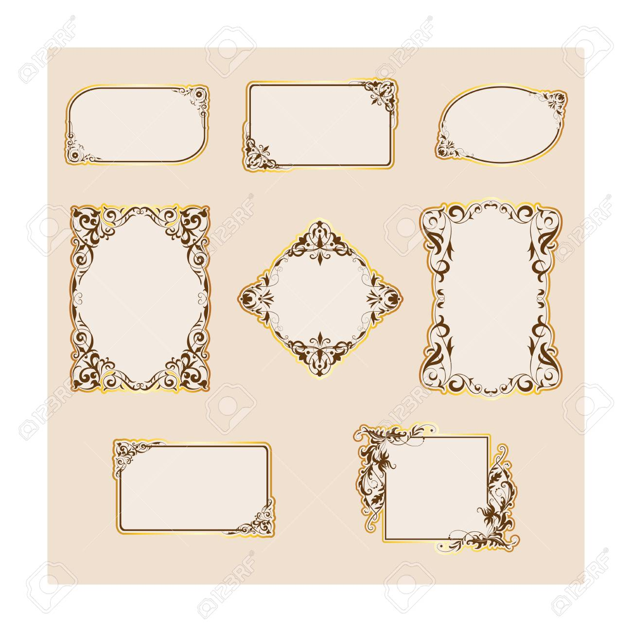 Set Of Template Frames And Borders For Greeting Card Invitation