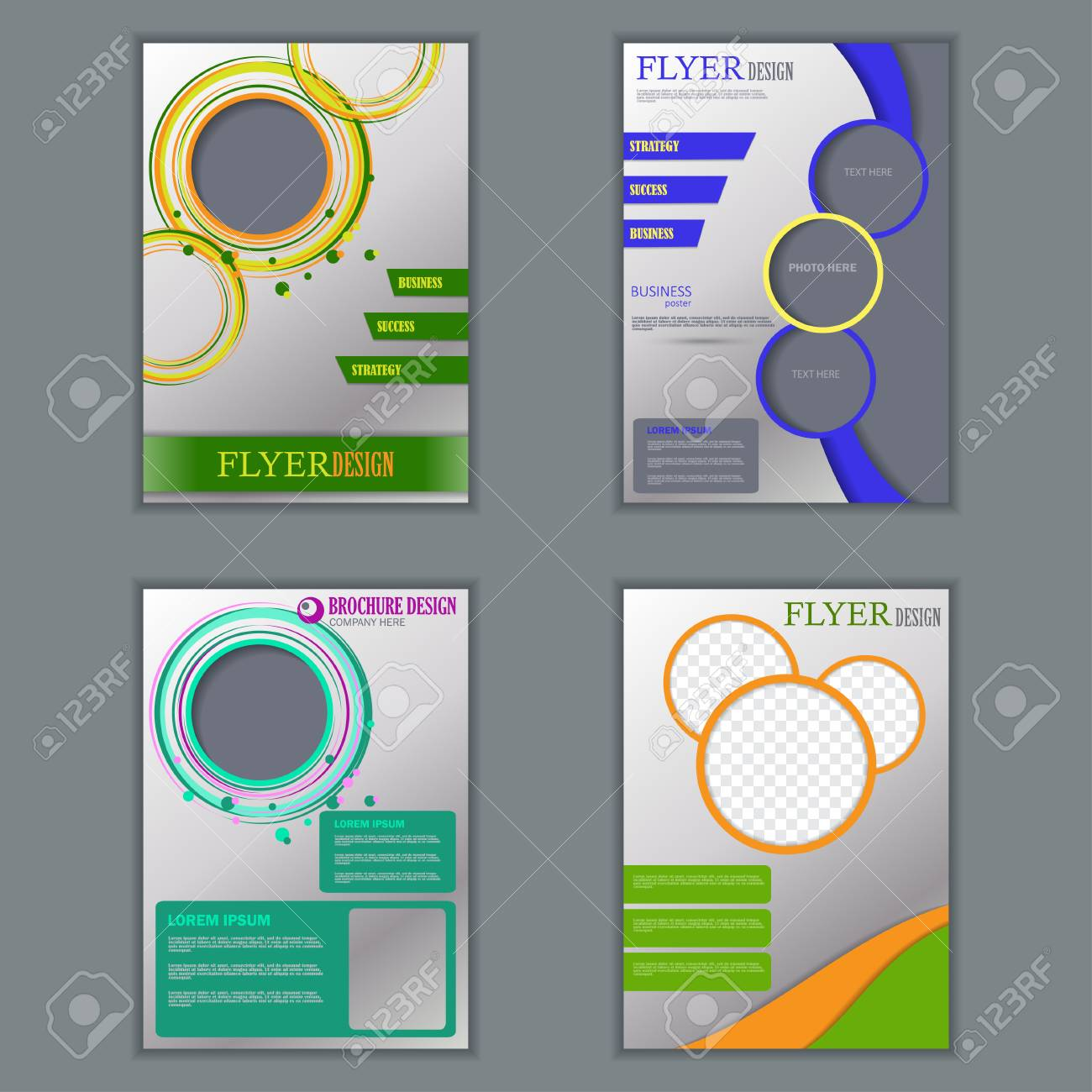 vector set of vertical flyers for design editable a4 poster