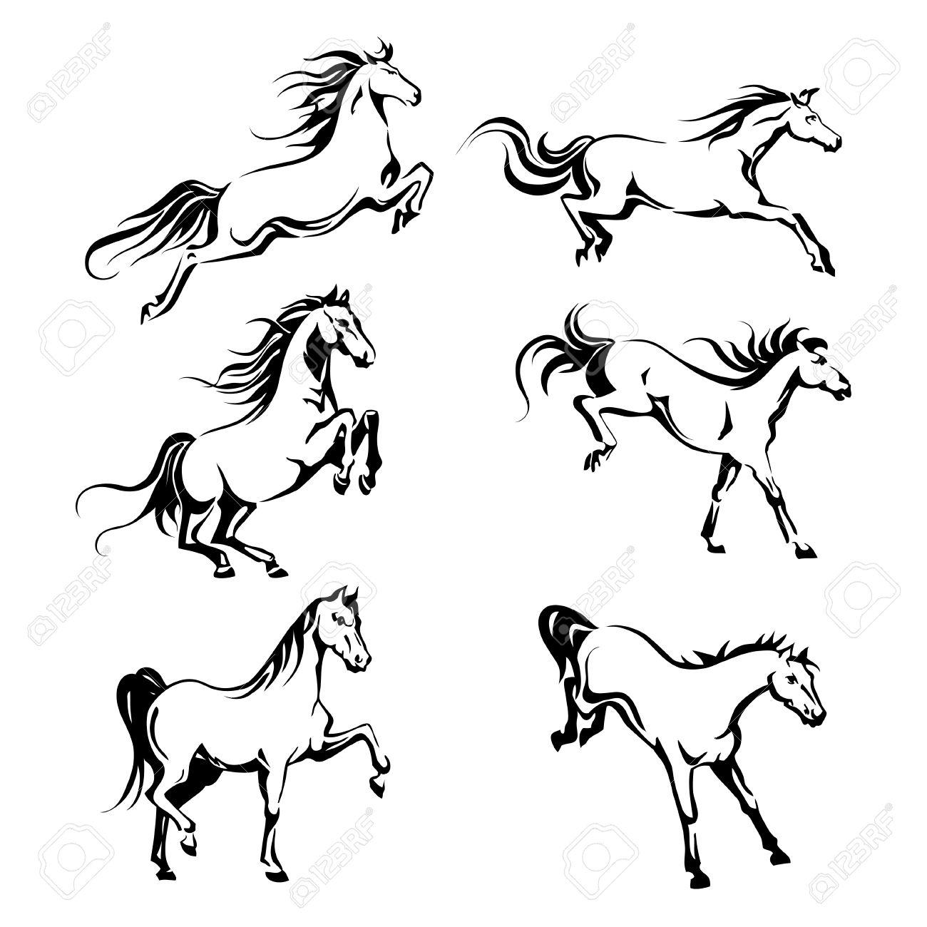 Vector set avec le graphique d'un cheval de course pour la conception de dessin à la main