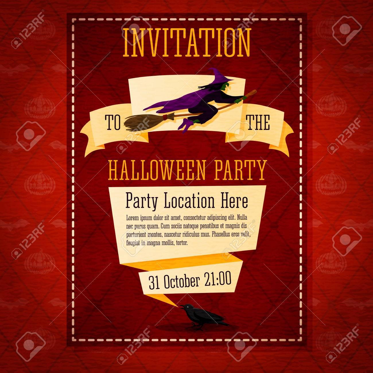 Banner Einladung Zur Halloween Party Mit Hexe An Der Spitze Und Platz Für  Die Beschreibung