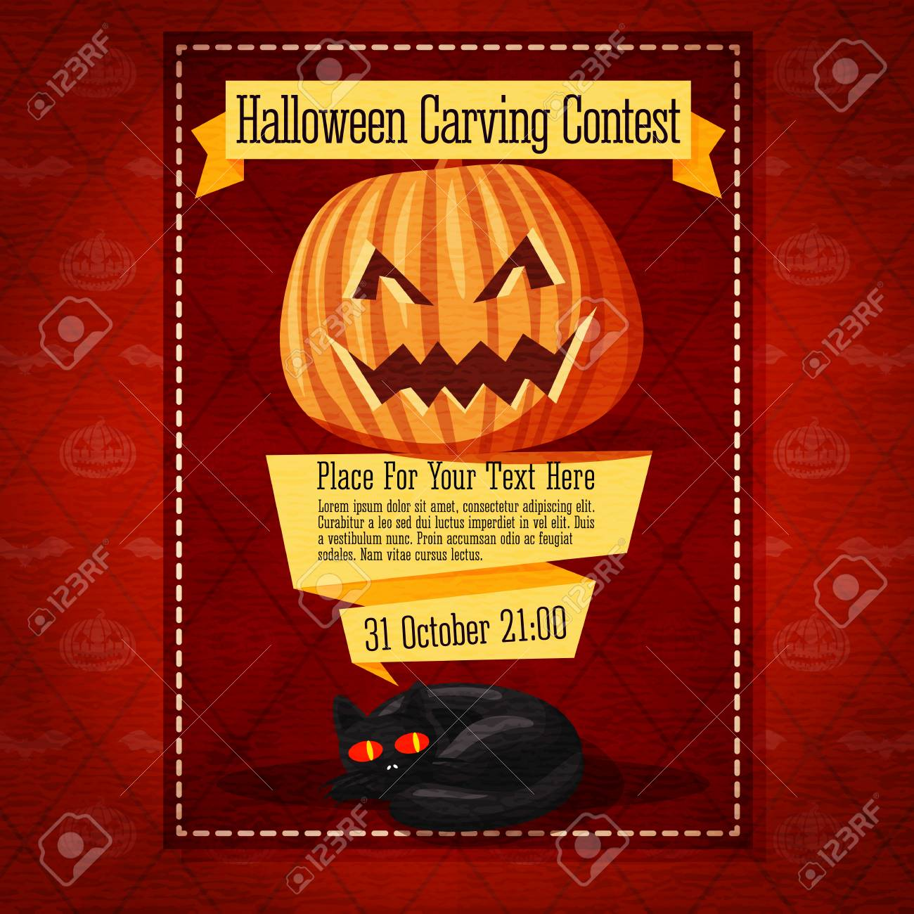 banner for carving contest or invitation to the halloween party