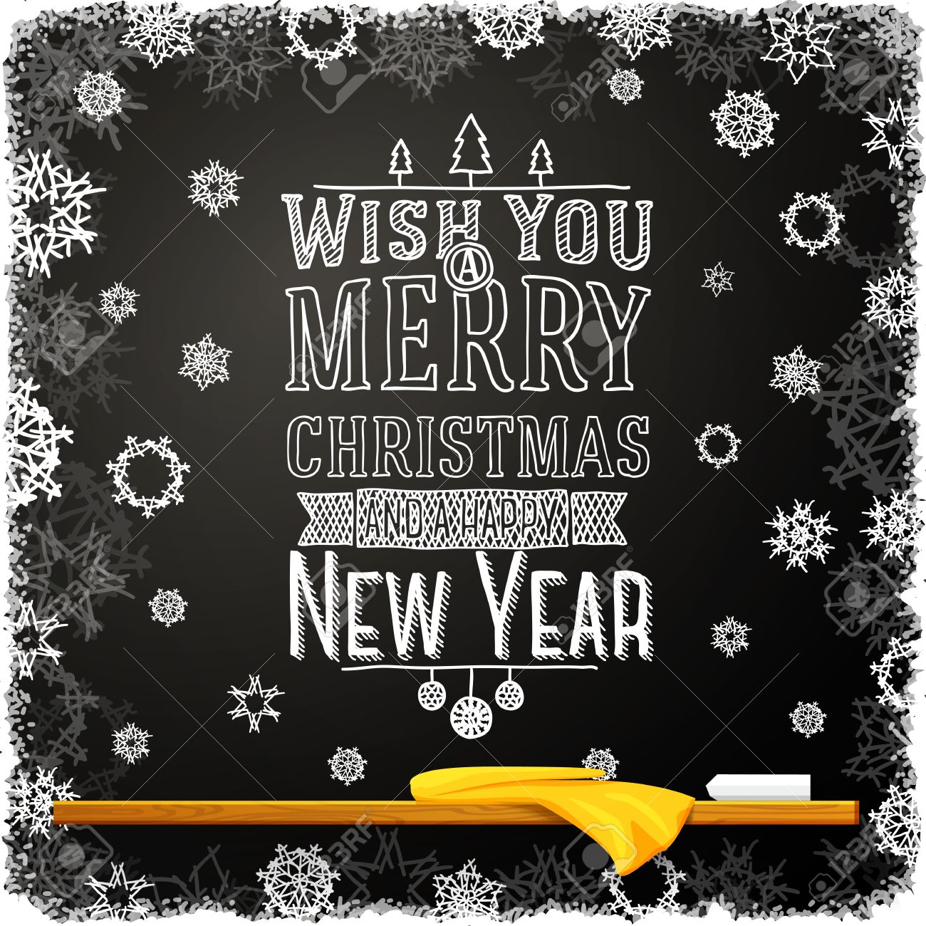 vector wish you a merry christmas and happy new year message written on the school chalkboard