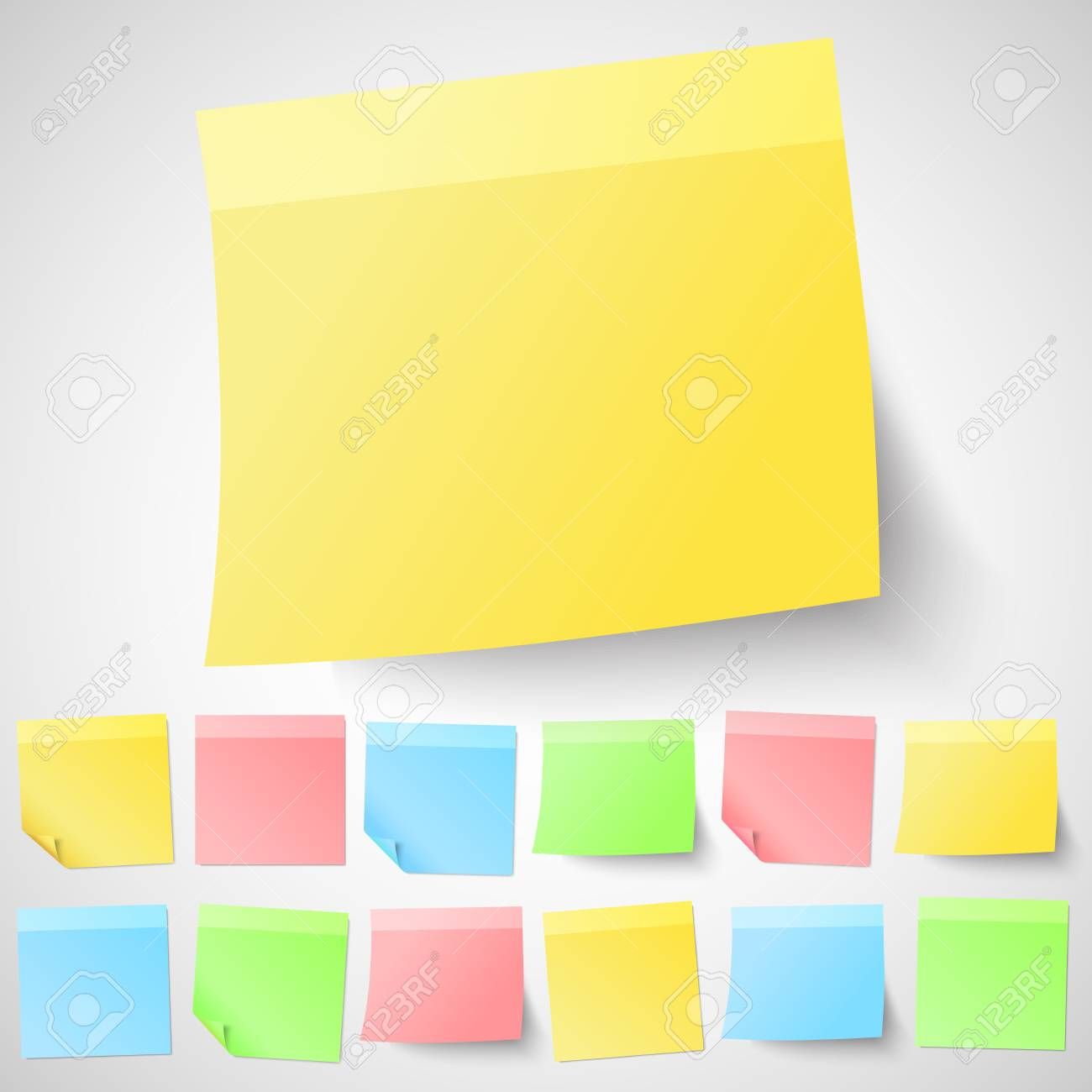set of isolated adhesive sticky notes different shapes and colors