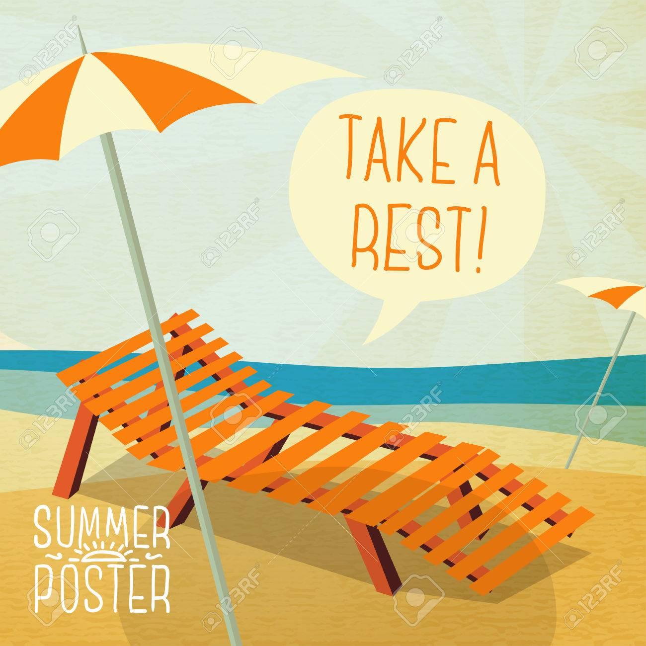 TexteVector Bain ParasolBulle Mignon Affiche Avec Votre Soleil De Pour D'été Longue Sur Chaise La xhCQdrts