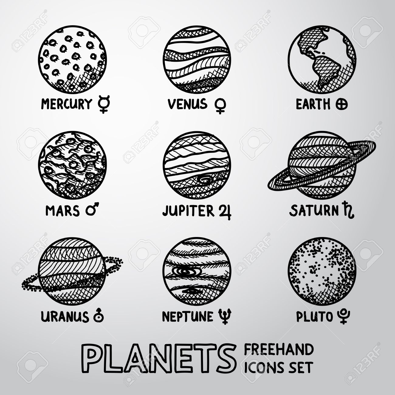 Set of hand drawn planet icons with names and astronomical symbols set of hand drawn planet icons with names and astronomical symbols mercury venus biocorpaavc Choice Image