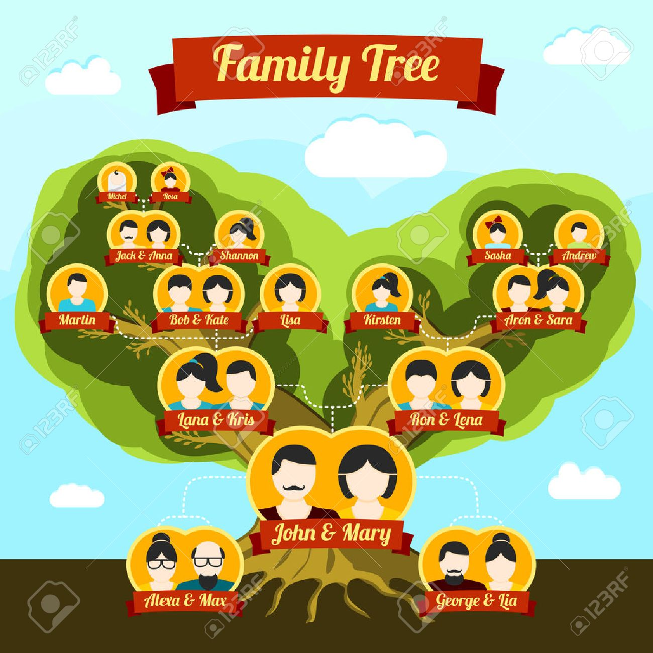 Family Tree With Places For Your Pictures And Names. Vector ...