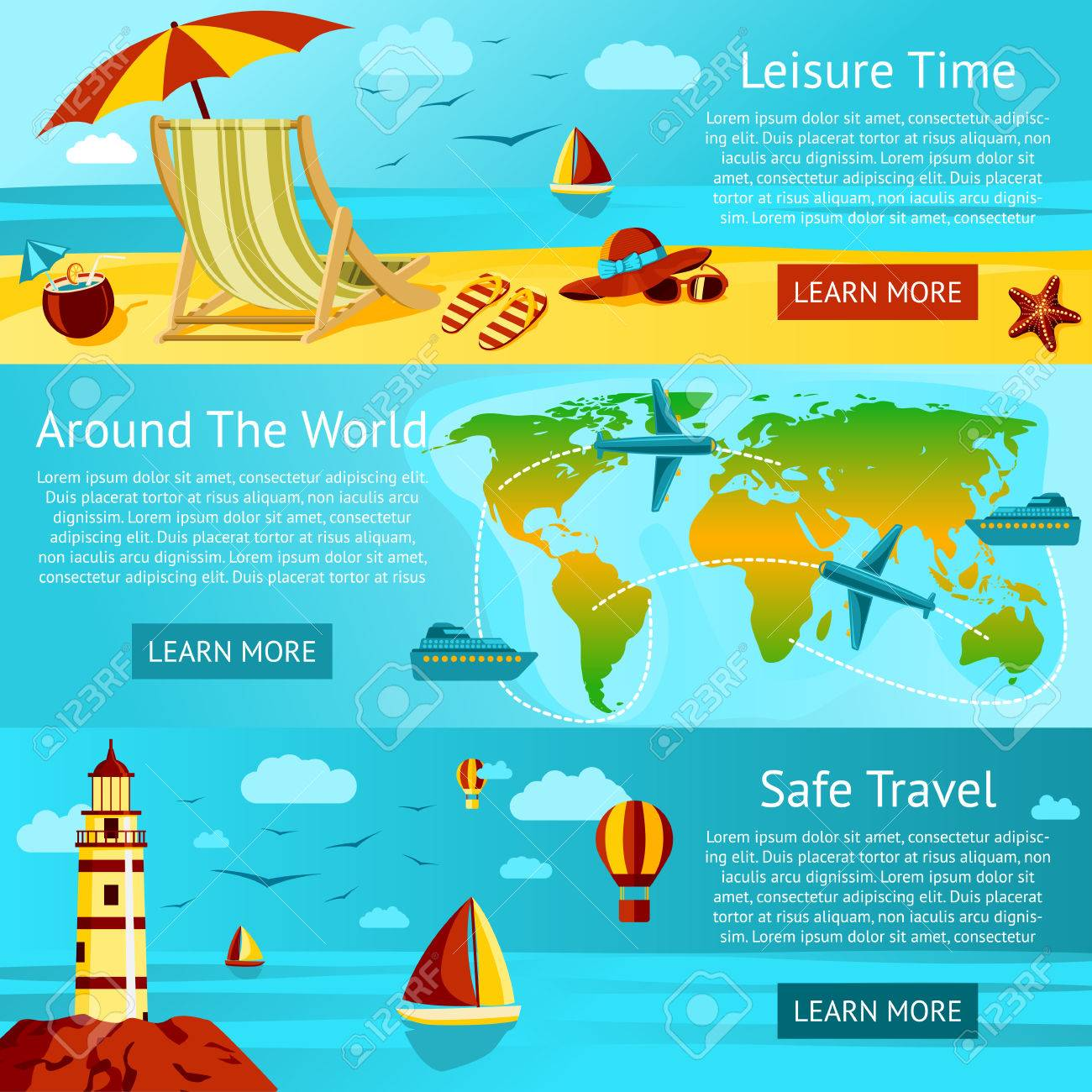 Set Of Summer Travel And Leisure Banners Sunny Beach With Chair – World Travels Map