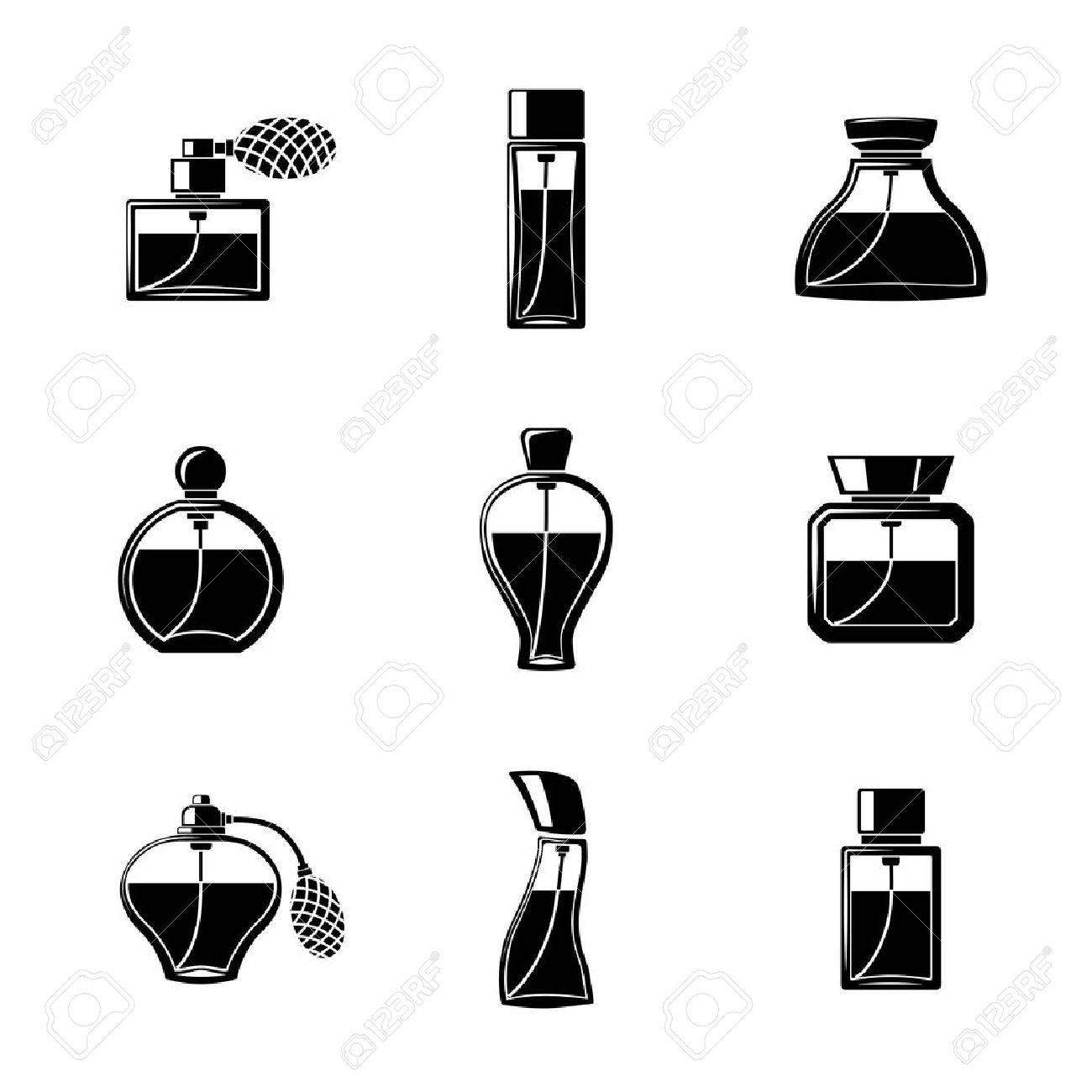Perfume icons set with different shapes of bottles vector perfume icons set with different shapes of bottles vector illustration stock vector 43462125 reviewsmspy