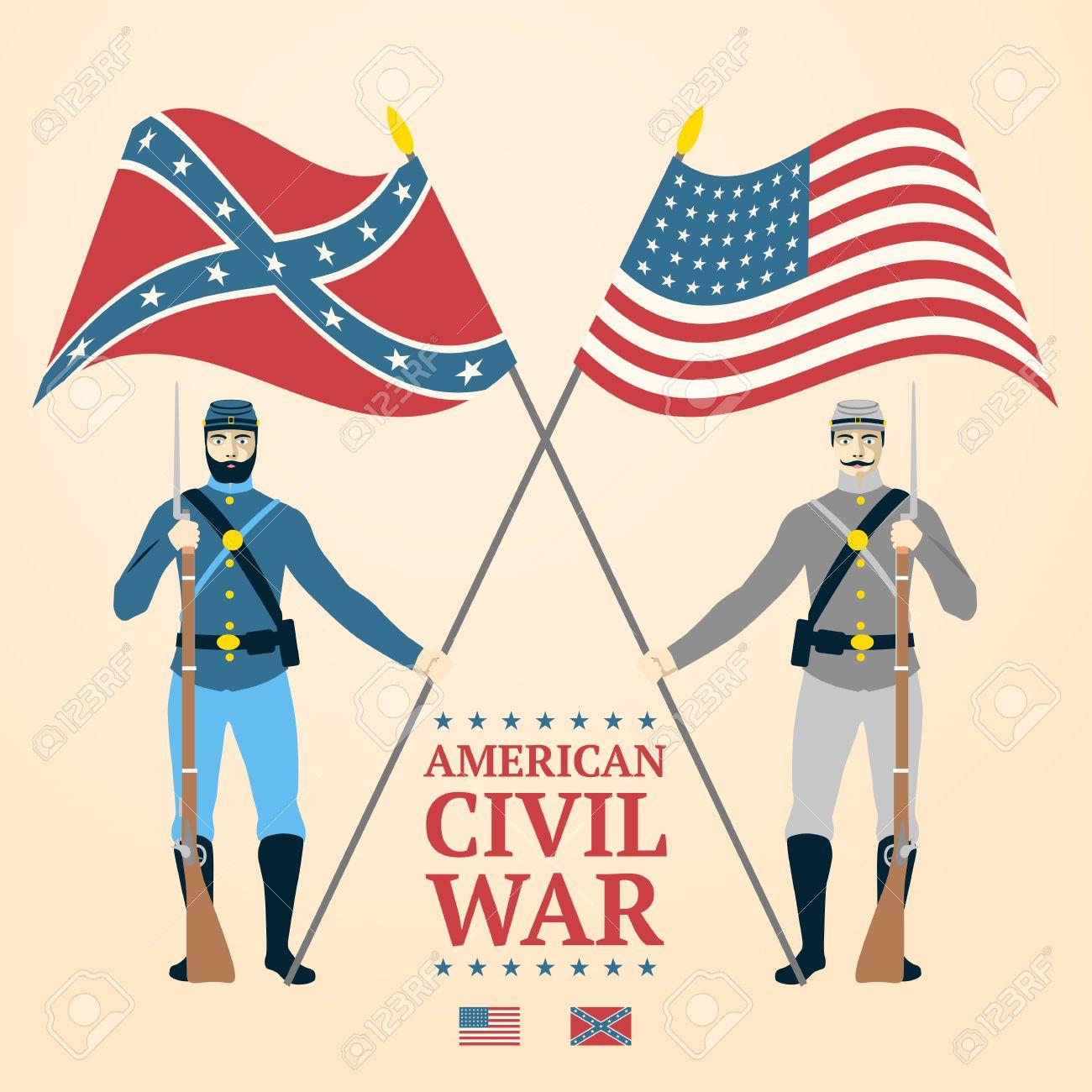 アメリカ南北戦争の図 - 制服、フラグとライフルの南部と北部の兵士 ...