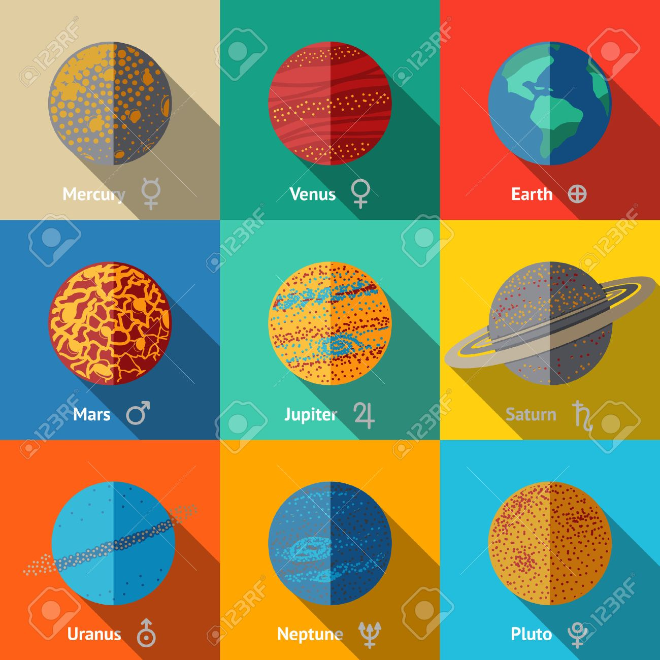 Flat icons set planets with names and astronomical symbols flat icons set planets with names and astronomical symbols mercury and venus earth buycottarizona