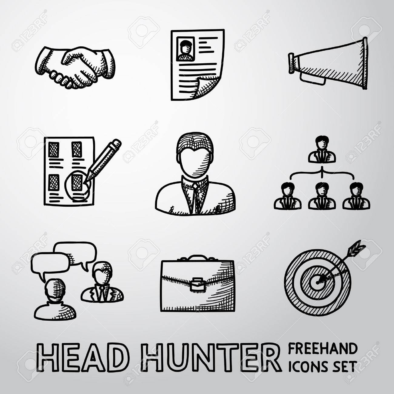 set of handdrawn head hunter icons handshake resume set of handdrawn head hunter icons handshake resume mouthpiece choice