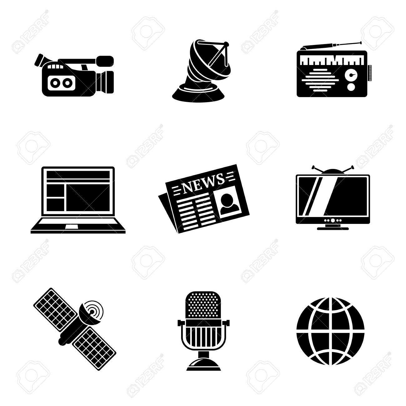 Satellite Tv And Internet >> Set Of Media Icons News Radio Tv Internet Earth And Satellite