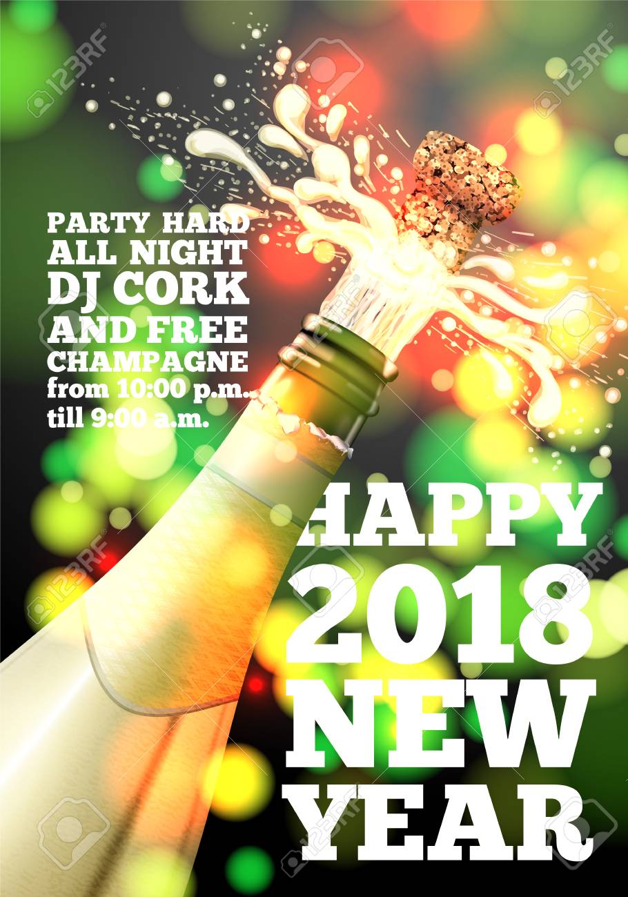 vector vector new year banner with champagne bottle on bright background with blurred xmas tree