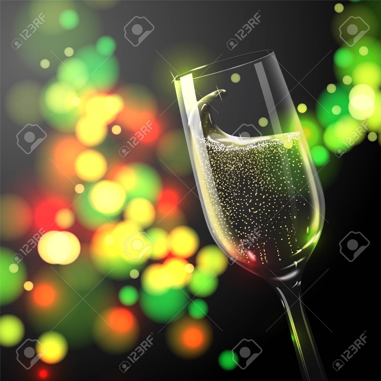 vector vector new year banner template with place for your text transparent champagne glass on bright background with blurred xmas tree