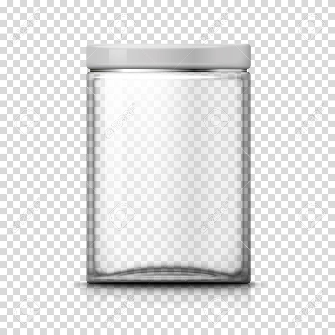 Vector 3d realistic big transparent glass jar on plaid background. Mock-up for product package branding. - 104618232
