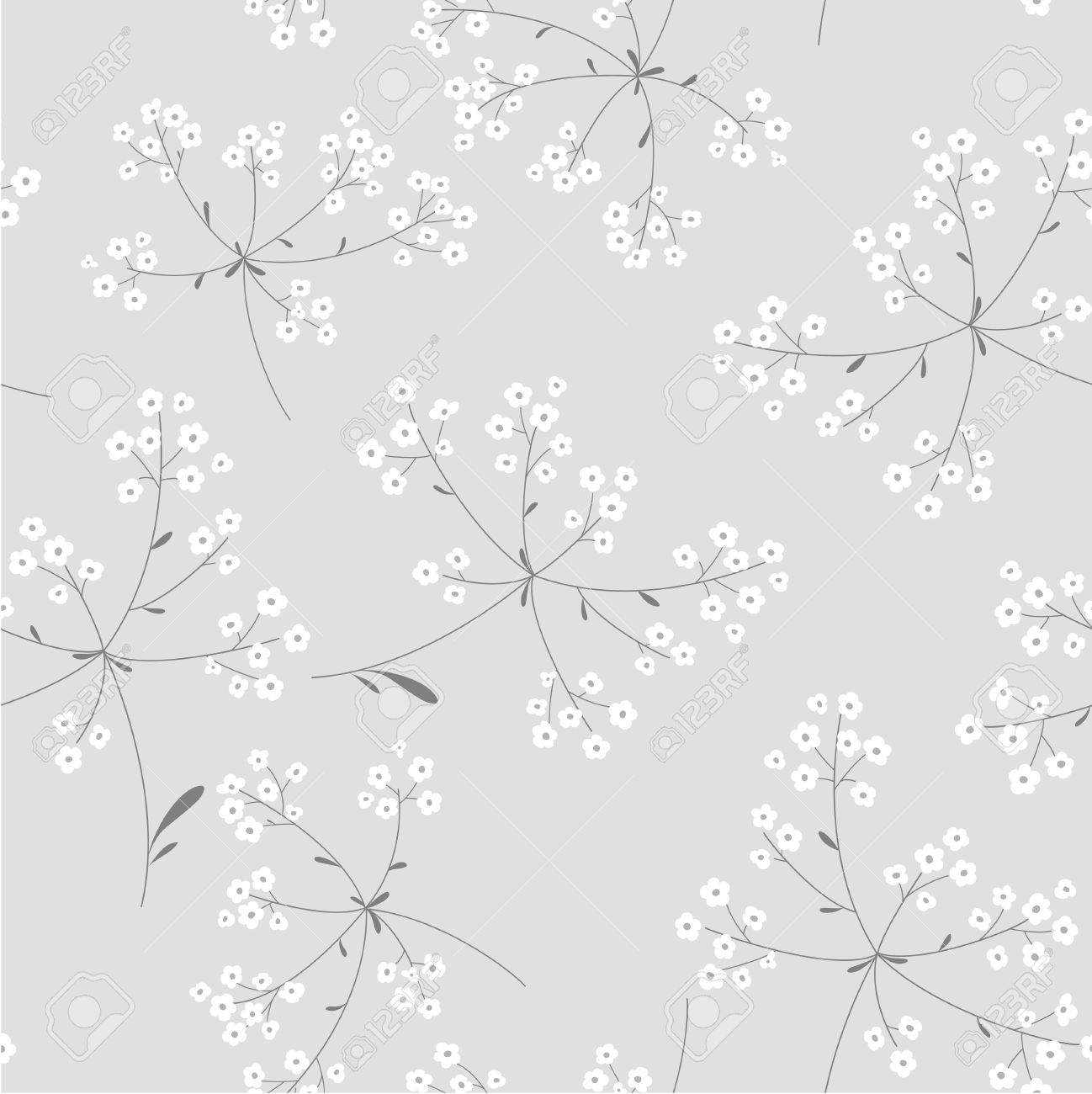 Seamless Black And White Floral Background Royalty Free Cliparts