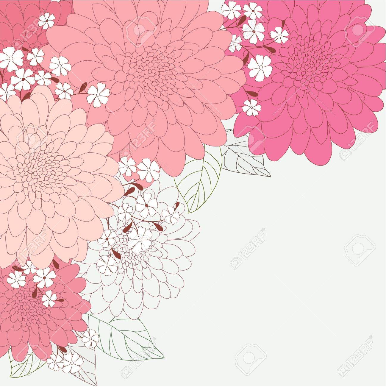 Cute floral card with dahlias Stock Vector - 18593706