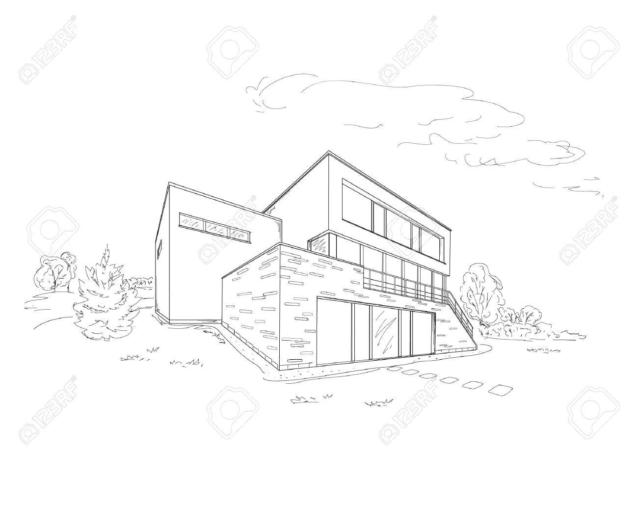 Indian Modern House Drawing Plans Home Drawings Vector Sketch ... - ^