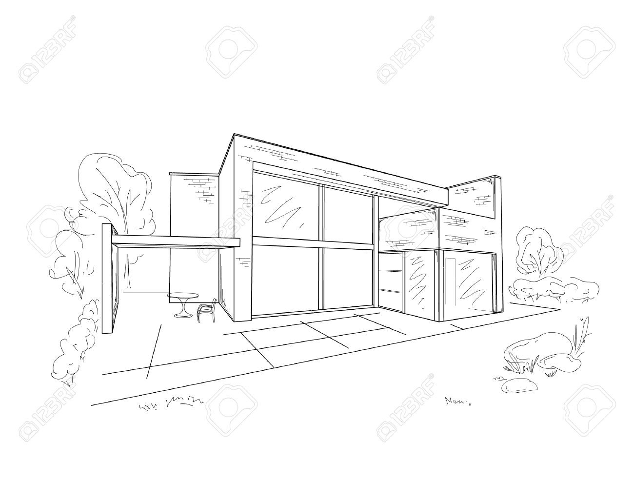 Vector Sketch Of Modern House Stock