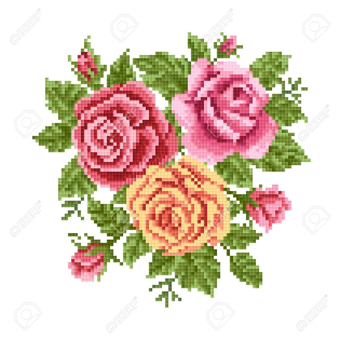 bouquet of the roses, embroider - 28380173