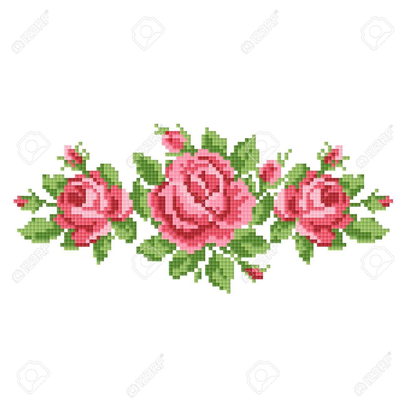 bouquet of the roses, embroider - 28380177