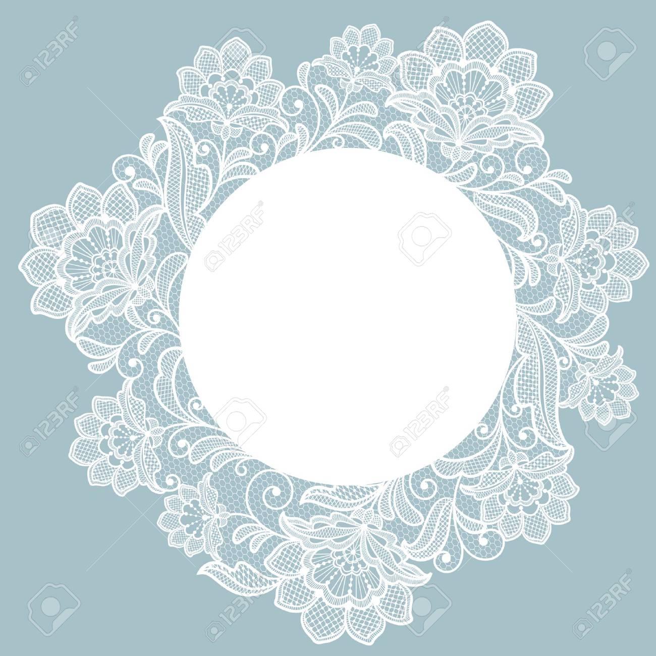 Template frame design for card. Lace floral frame. - 117097161