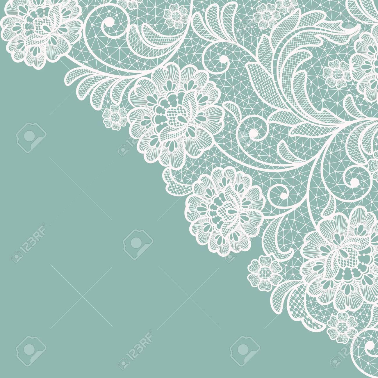 Template frame design for card. Vintage Lace Doily - 135007110