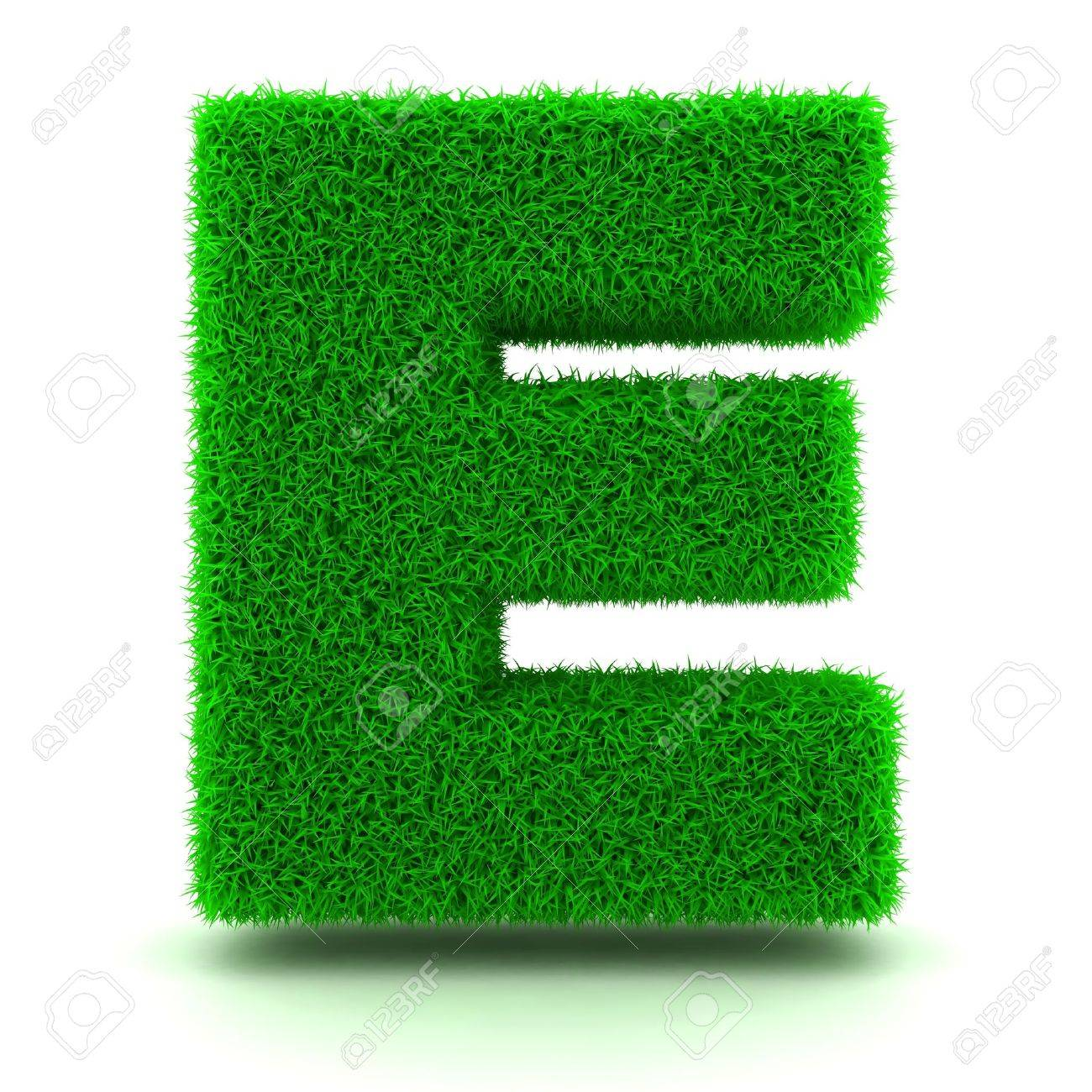 3D Green Grass Letter on White Background Stock Photo - 11875210
