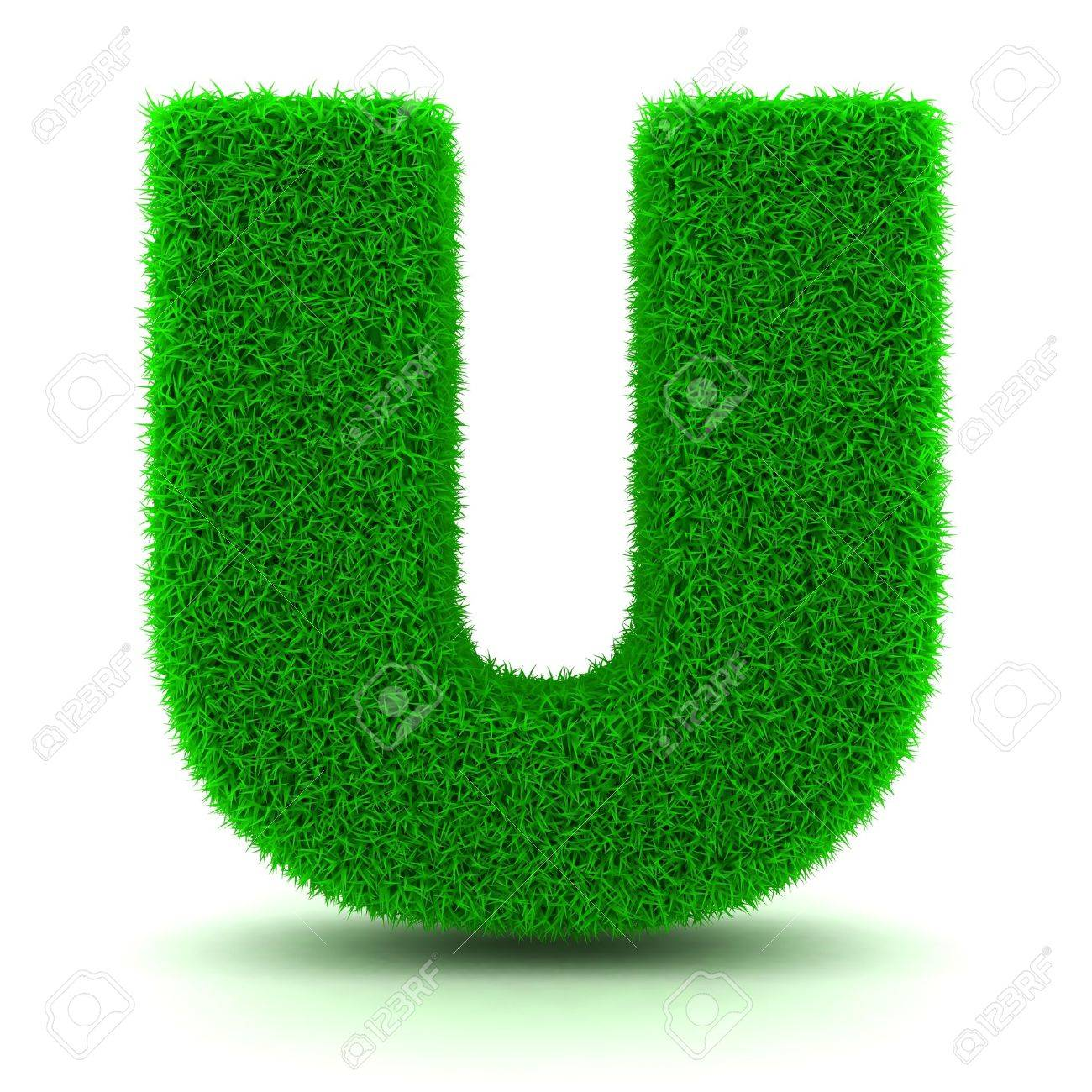 3D Green Grass Letter on White Background Stock Photo - 11875209