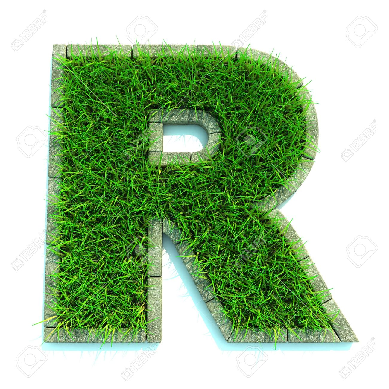 Beautiful Spring Letters And Numbers Made Of Grass Surrounded With Border
