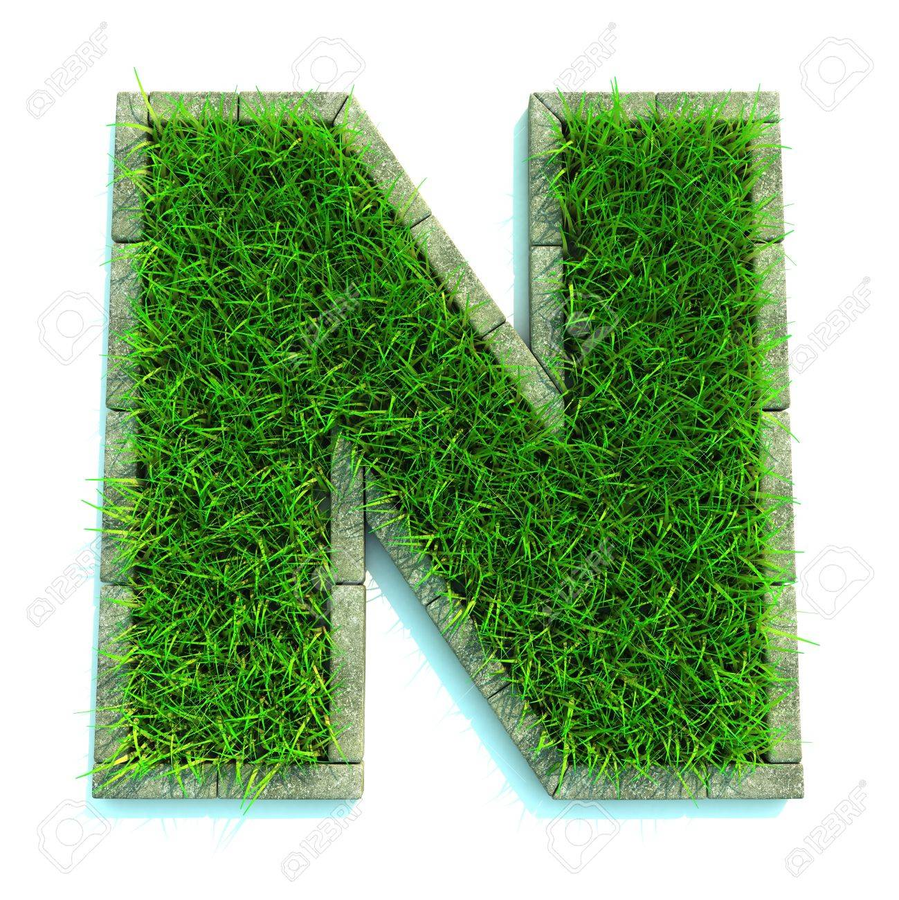 Beautiful Spring Letters and Numbers Made of Grass and Surrounded with  Border Stock Photo - 12687611