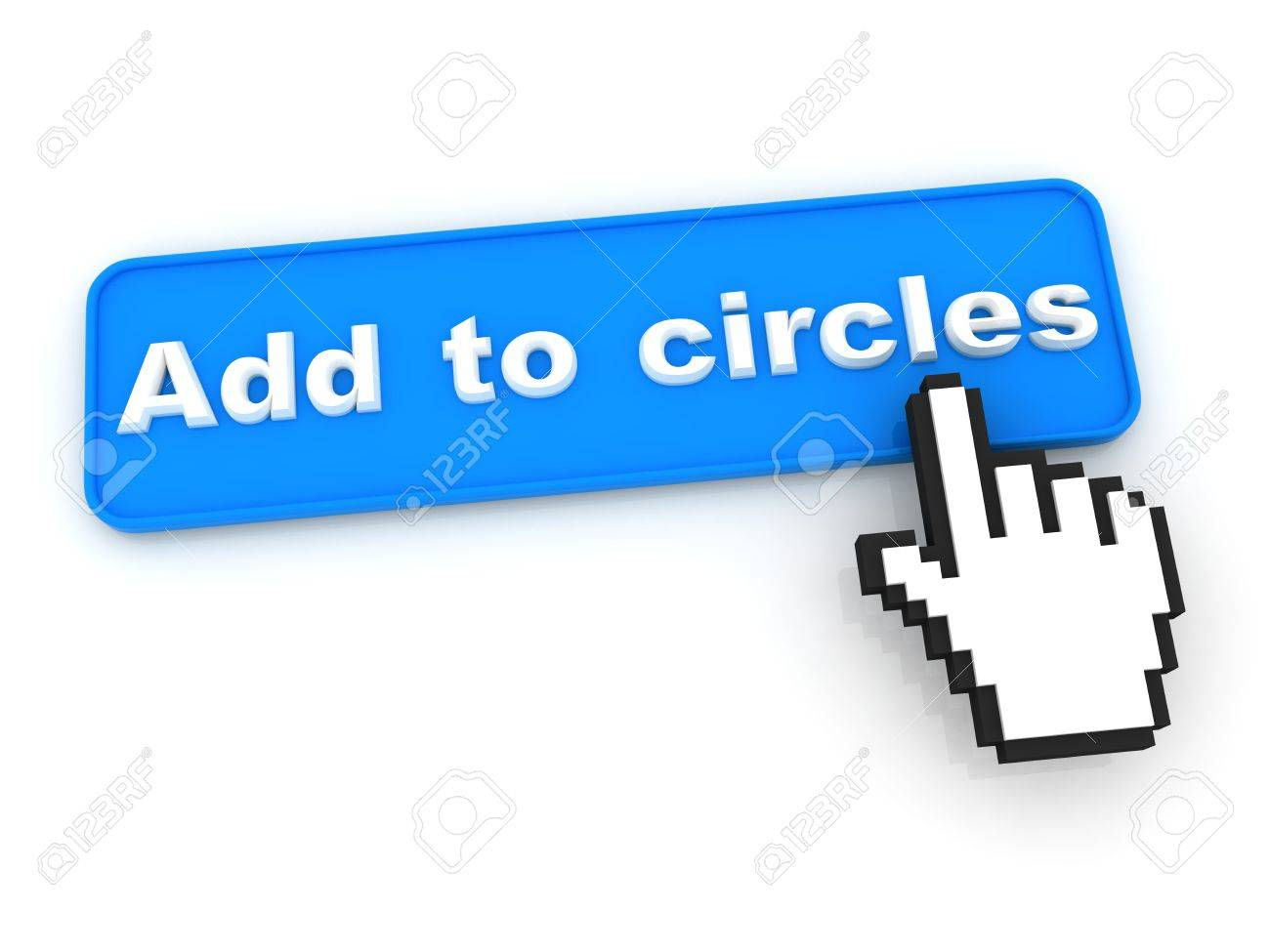 Add To Circle Button with  Hand Shaped mouse Cursor Stock Photo - 12687812
