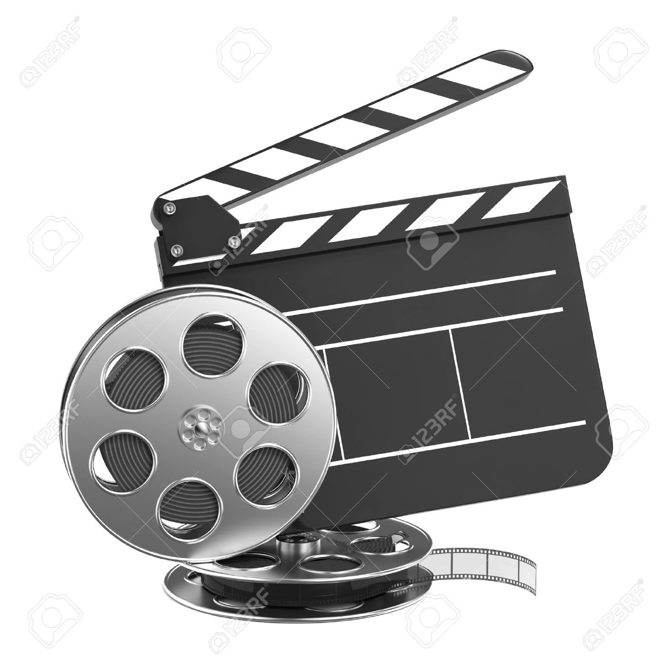 Clapboard and Film Reel, Setting Next to Each Other  On white Background Stock Photo - 15938281