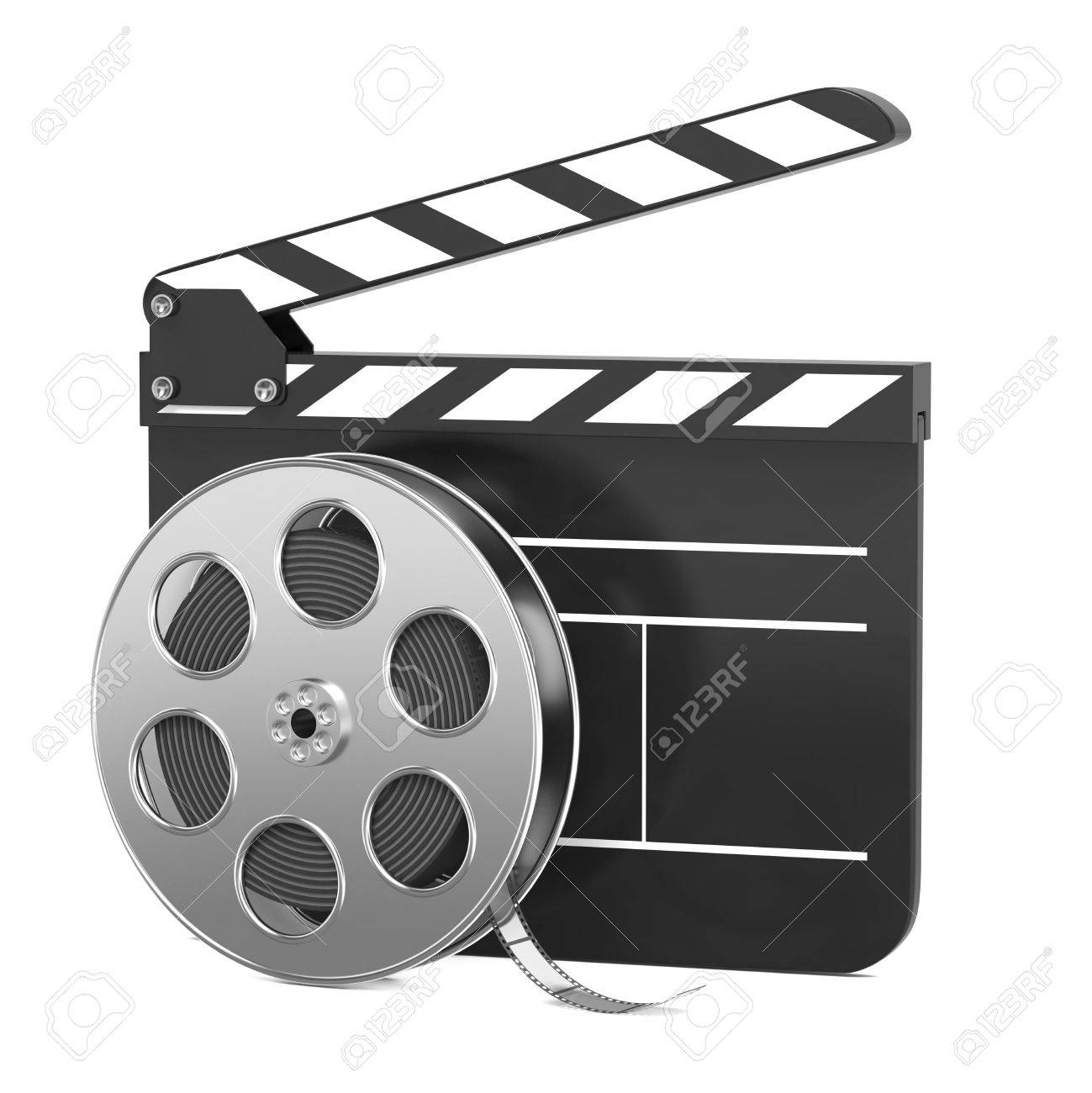 Clapboard and Film Reel, Setting Next to Each Other  On white Background Stock Photo - 15938280